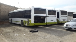 Jordan City Buses begin to get prepped for Smart Emissions Reducer units, as before installation emissions testing is conducted to baseline the vehicles.
